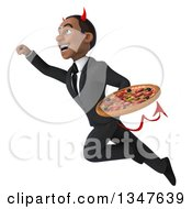 Clipart Of A 3d Young Black Devil Businessman Holding A Pizza And Flying Royalty Free Illustration