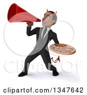 Clipart Of A 3d Young Black Devil Businessman Holding A Pizza And Announcing With A Megaphone Royalty Free Illustration