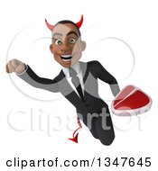 Clipart Of A 3d Young Black Devil Businessman Holding A Beef Steak And Flying Royalty Free Illustration