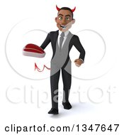 Clipart Of A 3d Young Black Devil Businessman Holding A Beef Steak And Walking Royalty Free Illustration