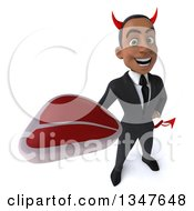 Clipart Of A 3d Young Black Devil Businessman Holding Up A Beef Steak Royalty Free Illustration