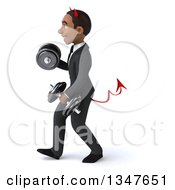 Clipart Of A 3d Young Black Devil Businessman Working Out Walking To The Left With Dumbbells Royalty Free Illustration