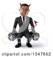 Clipart Of A 3d Young Black Devil Businessman Working Out And Squatting With Dumbbells Royalty Free Illustration