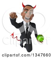 Clipart Of A 3d Young Black Devil Businessman Holding A Green Apple And Flying Royalty Free Illustration