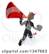 Clipart Of A 3d Young Black Devil Businessman Holding A Blackberry And Announcing With A Megaphone Royalty Free Illustration