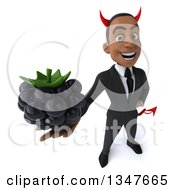 Clipart Of A 3d Young Black Devil Businessman Holding Up A Blackberry Royalty Free Illustration