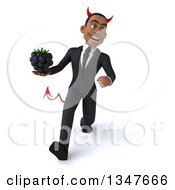 Clipart Of A 3d Young Black Devil Businessman Holding A Blackberry And Speed Walking Royalty Free Illustration