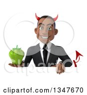 Clipart Of A 3d Young Black Devil Businessman Holding A Green Bell Pepper Over A Sign Royalty Free Illustration