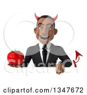 Clipart Of A 3d Young Black Devil Businessman Holding A Tomato Over A Sign Royalty Free Illustration