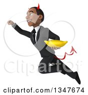 Clipart Of A 3d Young Black Devil Businessman Holding A Banana And Flying Royalty Free Illustration