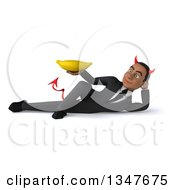 Clipart Of A 3d Young Black Devil Businessman Holding A Banana And Resting On His Side Royalty Free Illustration