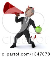 Clipart Of A 3d Young Black Devil Businessman Holding A Green Apple And Announcing With A Megaphone Royalty Free Illustration