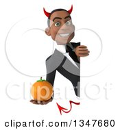 Clipart Of A 3d Young Black Devil Businessman Holding A Navel Orange Around A Sign Royalty Free Illustration
