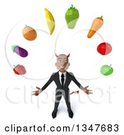 Clipart Of A 3d Young Black Devil Businessman Looking Up And Juggling Produce Royalty Free Illustration