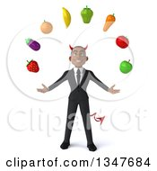 Clipart Of A 3d Young Black Devil Businessman Juggling Produce Royalty Free Illustration
