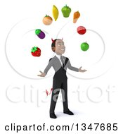 Clipart Of A 3d Young Black Devil Businessman Facing Slightly Right And Juggling Produce Royalty Free Illustration