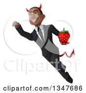 Clipart Of A 3d Young Black Devil Businessman Holding A Strawberry And Flying Royalty Free Illustration