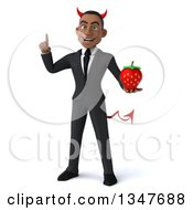 Clipart Of A 3d Young Black Devil Businessman Holding Up A Finger And A Strawberry Royalty Free Illustration