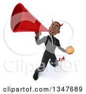 Clipart Of A 3d Young Black Devil Businessman Holding A Navel Orange And Announcing With A Megaphone Royalty Free Illustration