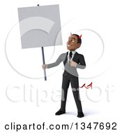 Clipart Of A 3d Young Black Devil Businessman Holding And Pointing To A Blank Sign Royalty Free Illustration