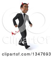 Clipart Of A 3d Young Black Devil Businessman Walking Slightly To The Right Royalty Free Illustration