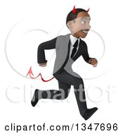 Clipart Of A 3d Young Black Devil Businessman Sprinting To The Right Royalty Free Illustration