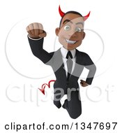 Clipart Of A 3d Young Black Devil Businessman Flying Royalty Free Illustration
