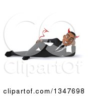 Clipart Of A 3d Young Black Devil Businessman Resting On His Side Royalty Free Illustration