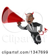 Clipart Of A 3d Young Black Devil Businessman Flying And Announcing With A Megaphone Royalty Free Illustration