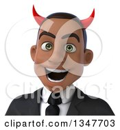 Clipart Of A 3d Avatar Of A Young Black Devil Businessman Royalty Free Illustration by Julos