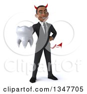 Clipart Of A 3d Young Black Devil Businessman Holding A Tooth Royalty Free Illustration