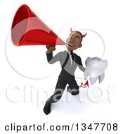 Clipart Of A 3d Young Black Devil Businessman Holding A Tooth And Announcing With A Megaphone Royalty Free Illustration