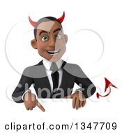 Clipart Of A 3d Young Black Devil Businessman Pointing Down Over A Sign Royalty Free Illustration