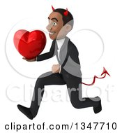 Clipart Of A 3d Young Black Devil Businessman Holding A Love Heart And Sprinting To The Left Royalty Free Illustration