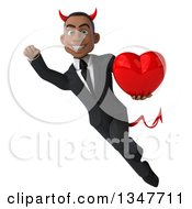 Clipart Of A 3d Young Black Devil Businessman Holding A Love Heart And Flying Royalty Free Illustration