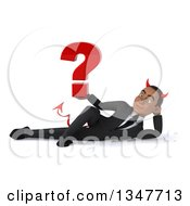 Clipart Of A 3d Young Black Devil Businessman Holding A Question Mark And Resting On His Side Royalty Free Illustration