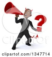 Clipart Of A 3d Young Black Devil Businessman Holding A Question Mark And Announcing With A Megaphone Royalty Free Illustration