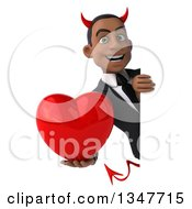 Clipart Of A 3d Young Black Devil Businessman Holding A Love Heart Around A Sign Royalty Free Illustration