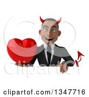 Clipart Of A 3d Young Black Devil Businessman Holding A Love Heart Over A Sign Royalty Free Illustration