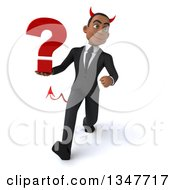 Clipart Of A 3d Young Black Devil Businessman Holding A Question Mark And Speed Walking Royalty Free Illustration