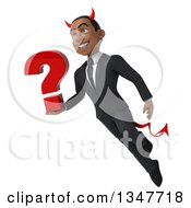 Clipart Of A 3d Young Black Devil Businessman Holding A Question Mark And Flying Royalty Free Illustration