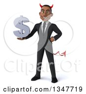 Clipart Of A 3d Young Black Devil Businessman Holding A Dollar Currency Symbol Royalty Free Illustration