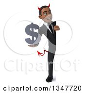 Clipart Of A 3d Full Length Young Black Devil Businessman Holding A Dollar Currency Symbol And Looking Around A Sign Royalty Free Illustration