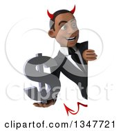Clipart Of A 3d Young Black Devil Businessman Holding A Dollar Currency Symbol And Looking Around A Sign Royalty Free Illustration