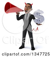 Clipart Of A 3d Young Black Devil Businessman Holding A Dollar Currency Symbol And Announcing With A Megaphone Royalty Free Illustration