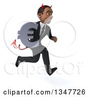 Clipart Of A 3d Young Black Devil Businessman Holding A Euro Currency Symbol And Sprinting To The Right Royalty Free Illustration