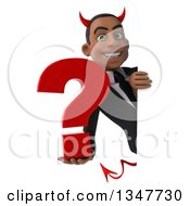 Clipart Of A 3d Young Black Devil Businessman Holding A Question Mark Around A Sign Royalty Free Illustration