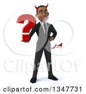 Clipart Of A 3d Young Black Devil Businessman Holding A Question Mark Royalty Free Illustration