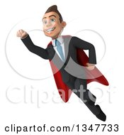 Clipart Of A 3d Super White Businessman Smiling And Flying Royalty Free Illustration