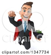 Clipart Of A 3d Super White Businessman Holding A Blackberry And Flying Royalty Free Illustration